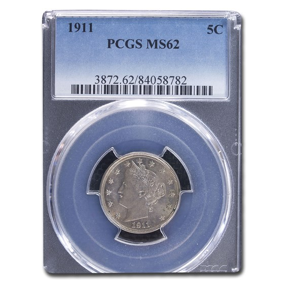 1911 Liberty Head V Nickel MS-62 PCGS