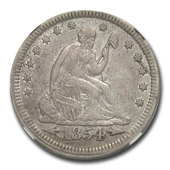 1854 Liberty Seated Quarter XF-45 NGC (Arrows)