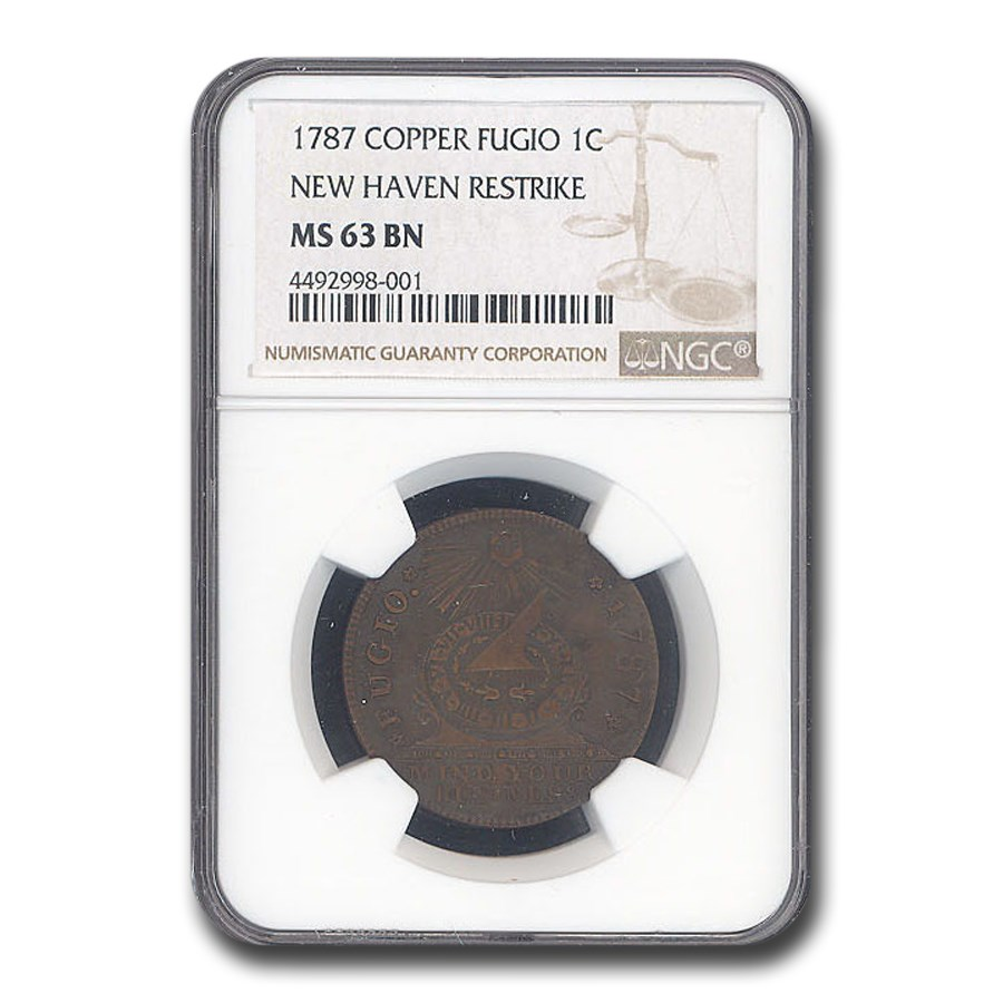 1787 Fugio Cent MS-63 NGC (BN, New Haven Restrike)