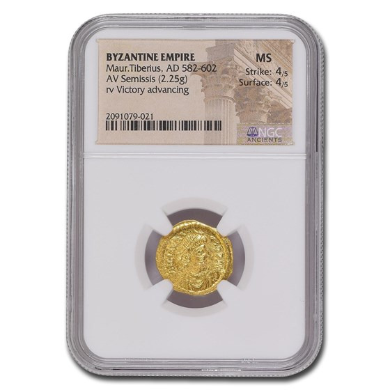 Byzantine Gold Semissis Maurice Tiberius (582-602 AD) MS NGC