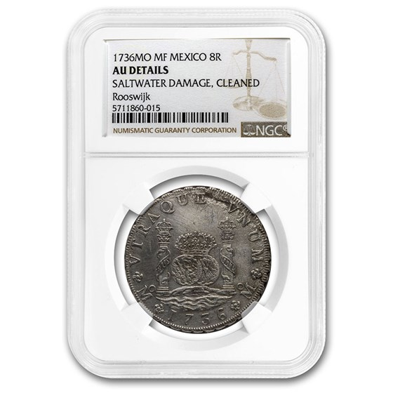 1736 Mo-MF Mexico AR 8 Reales AU Details NGC Rooswijk Shipwreck