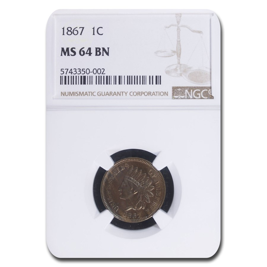 1867 Indian Head Cent MS-64 NGC (Brown)