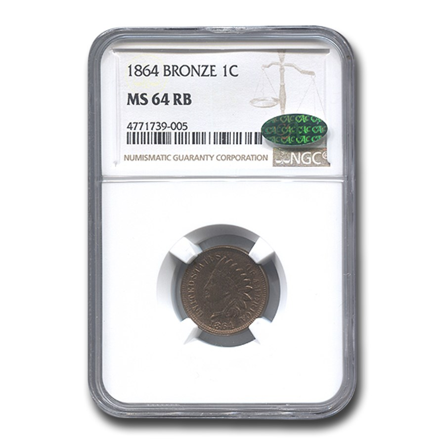 1864 Indian Head Cent MS-64 NGC CAC (Red/Brown, Bronze)