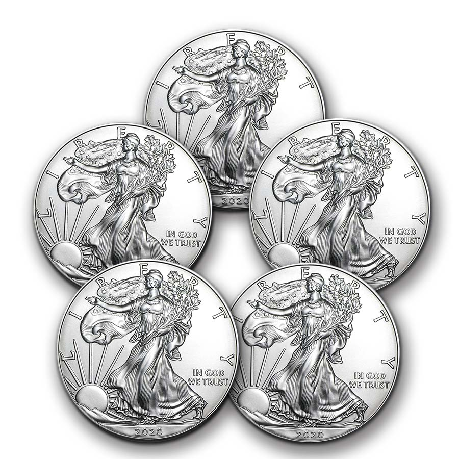 Lot of 5-2019 1 oz .999 American Silver Eagle BU $1 Coins