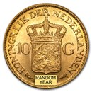 Netherlands Gold 10 Guilders (Random) Average Circ