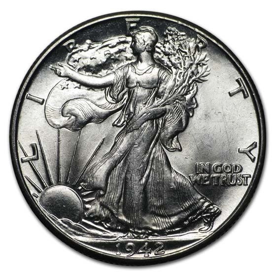 1942 Walking Liberty Half Dollar BU