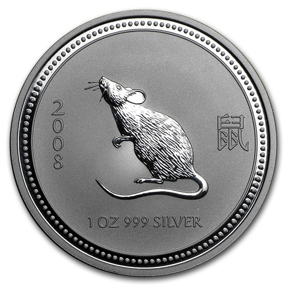 2008 Australia 1 oz Silver Year of the Mouse BU (Series I)