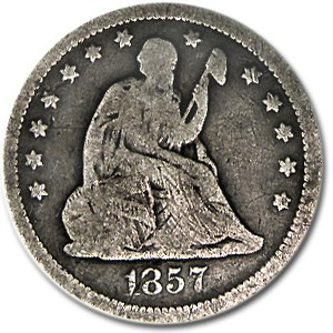 1857 Liberty Seated Quarter VG
