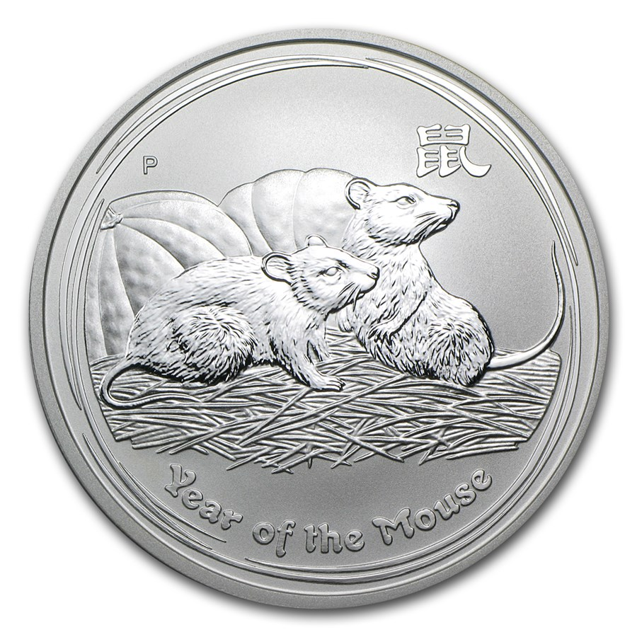 2008 Australia 1 oz Silver Year of the Mouse BU (Series II)