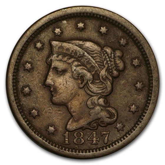 1847 Large Cent VF