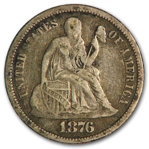 1876 Liberty Seated Dime VF