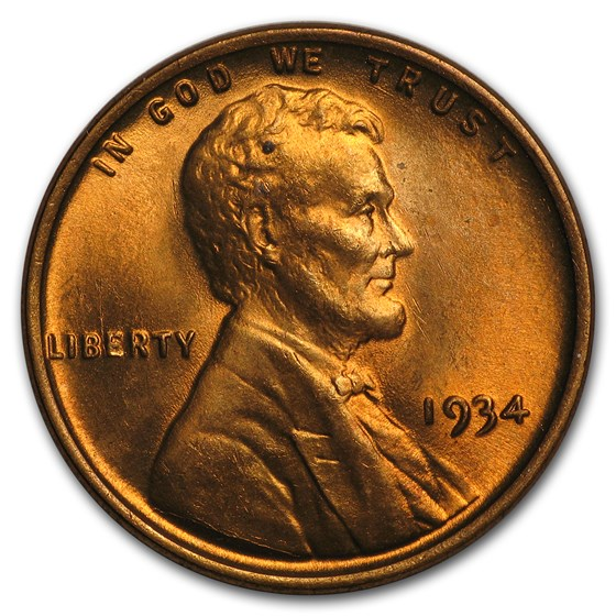 1934 Lincoln Cent BU (Red)
