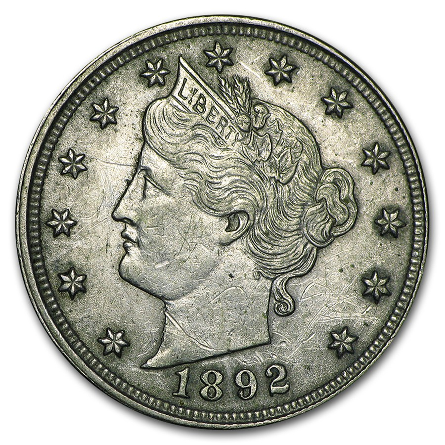 1892 Liberty Head V Nickel AU
