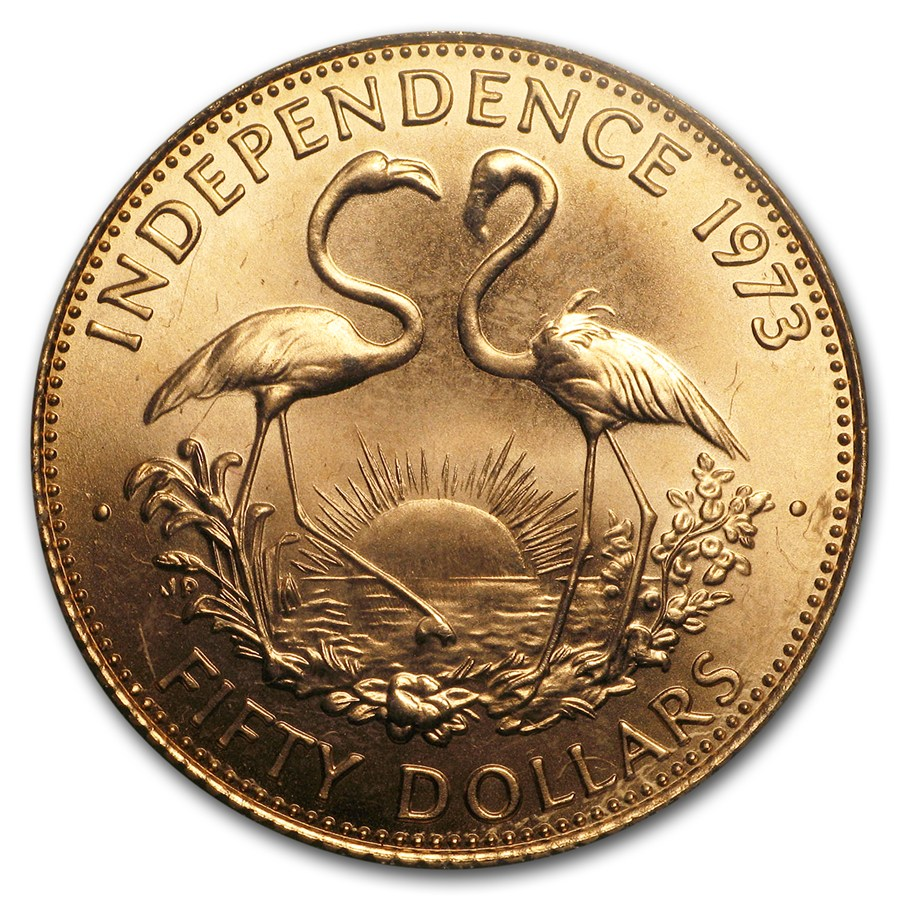 1973 Bahamas Gold 50 Dollars Independence BU