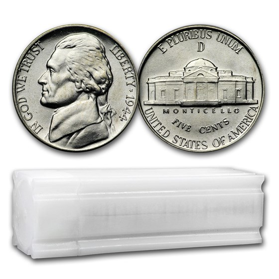 1944-D 35% Silver Wartime Jefferson Nickel Roll BU (40 ct)