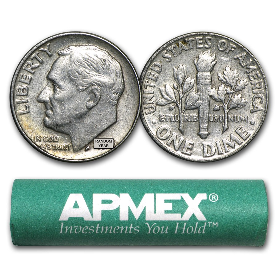 Roll Of Silver Dimes 5 In A