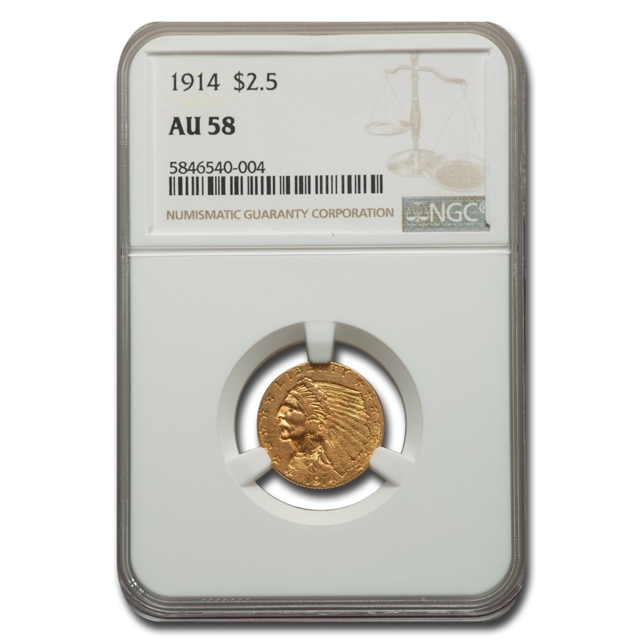 1914 $2.50 Indian Gold Quarter Eagle AU-58 NGC