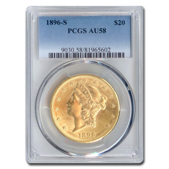 1896-S $20 Liberty Gold Double Eagle AU-58 PCGS