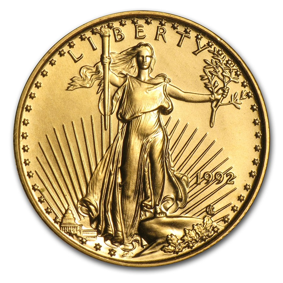 1992 1/10 oz Gold American Eagle BU