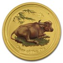 2009 Australia 1/20 oz Gold Lunar Ox BU (SII, Colorized)