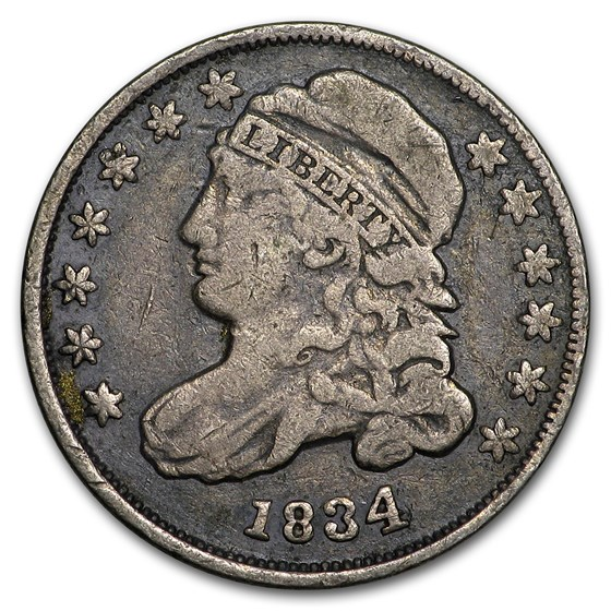 1834 Capped Bust Dime Fine