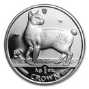 1994 Isle of Man 1 oz Silver Japanese Bobtail Cat Proof