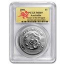 2000 Australia 1 oz Silver Year of the Dragon MS-69 PCGS