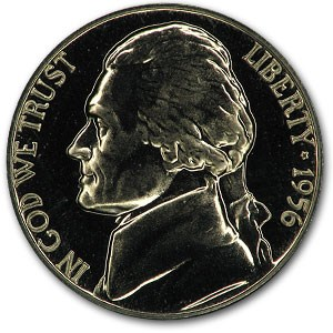 1956 Jefferson Nickel Gem Proof