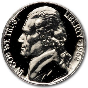 1962 Jefferson Nickel Gem Proof