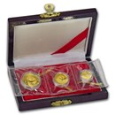 1987-Y China 3-Coin Gold Panda Prestige Set (w/Box & COA)