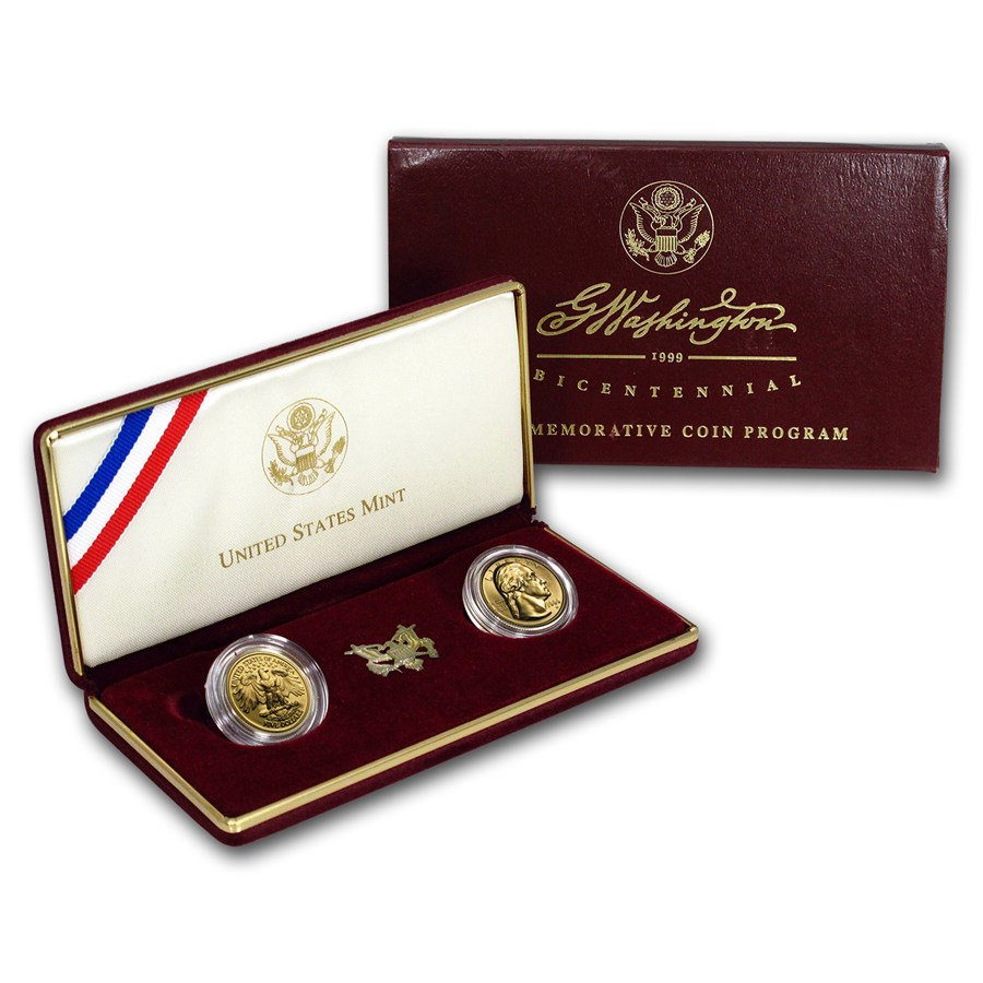 1999-W 2-Coin Commem George Washington Set BU & Prf (w/Box & COA)