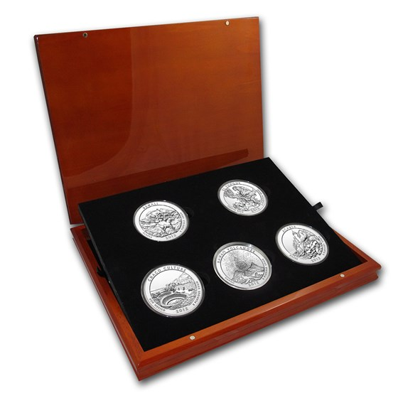 2012 5-Coin 5 oz Silver ATB Set (Elegant Display Box)