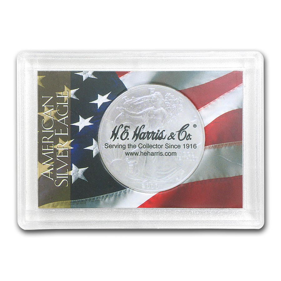 Silver American Eagle Harris Holder (Flag Design)