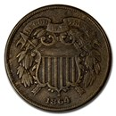 1864-1872 Two Cent Piece VF/XF