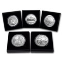2010-P 5-Coin 5 oz Silver Burnished ATB Set (w/Box & COA)