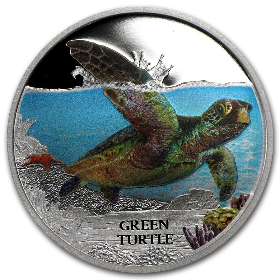 2014 Tuvalu 1 oz Silver Green Turtle Proof