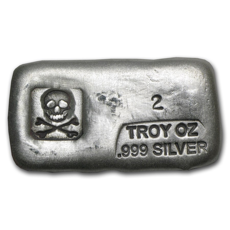 2 oz Hand Poured Silver Bar - PG & G (Skull & Bones)
