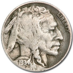 1934-D Buffalo Nickel Good+