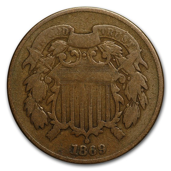 1869 Two Cent Piece VG