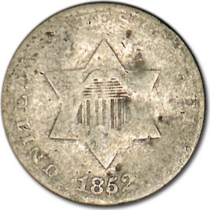 1852 Three Cent Silver AG