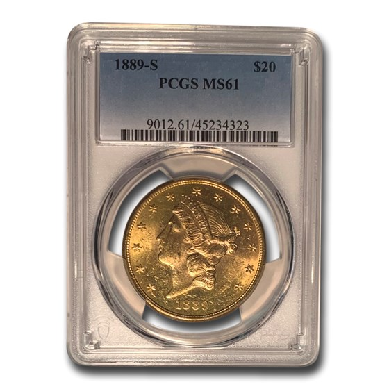 1889-S $20 Liberty Gold Double Eagle MS-61 PCGS