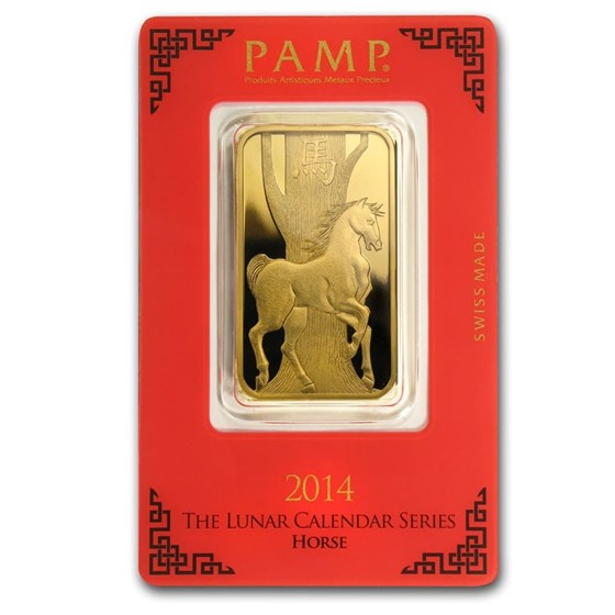 1 oz Gold Bar - PAMP Suisse Year of the Horse (In Assay)