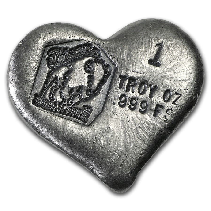 1 oz Hand Poured Silver Heart