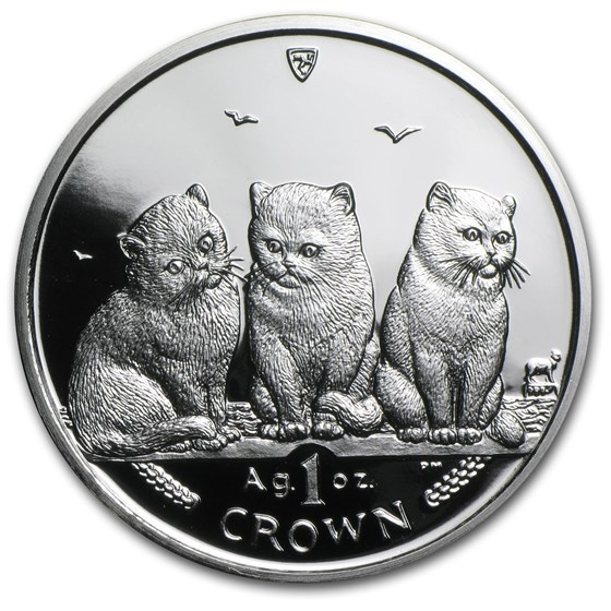 2006 Isle of Man 1 oz Silver Shorthair Cats Proof