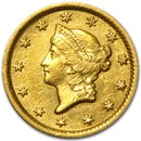 1853-O $1 Liberty Head Gold AU