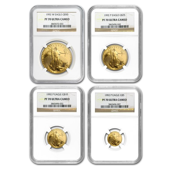1992 4-Coin Proof Gold American Eagle Set PF-70 NGC