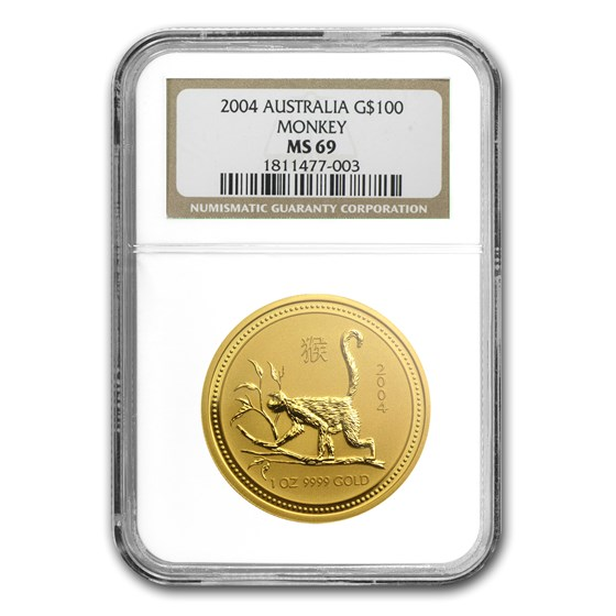 2004 1 oz Gold Lunar Year of the Monkey MS-69 NGC (Series I)