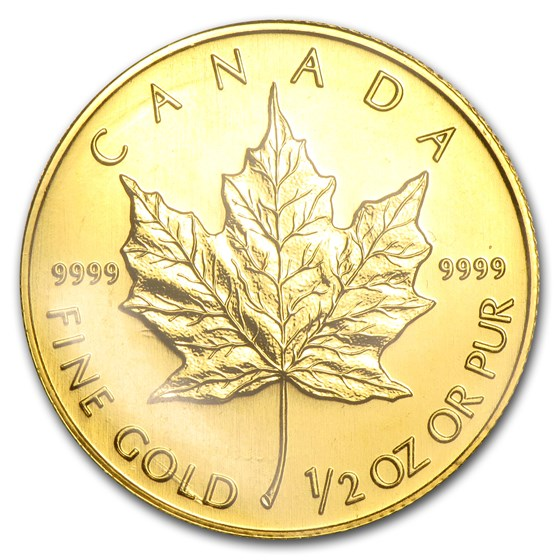 1998 Canada 1/2 oz Gold Maple Leaf BU