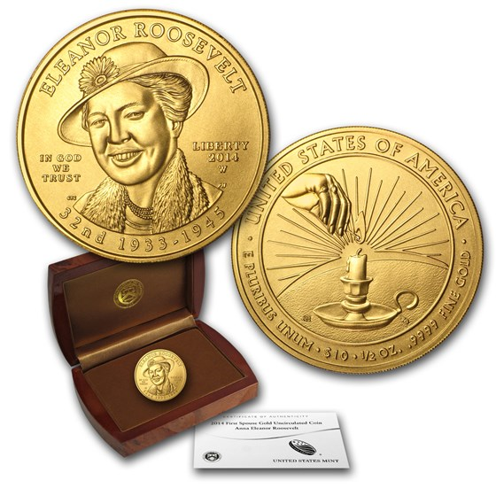 2014-W 1/2 oz Gold Eleanor Roosevelt BU (w/Box & COA)