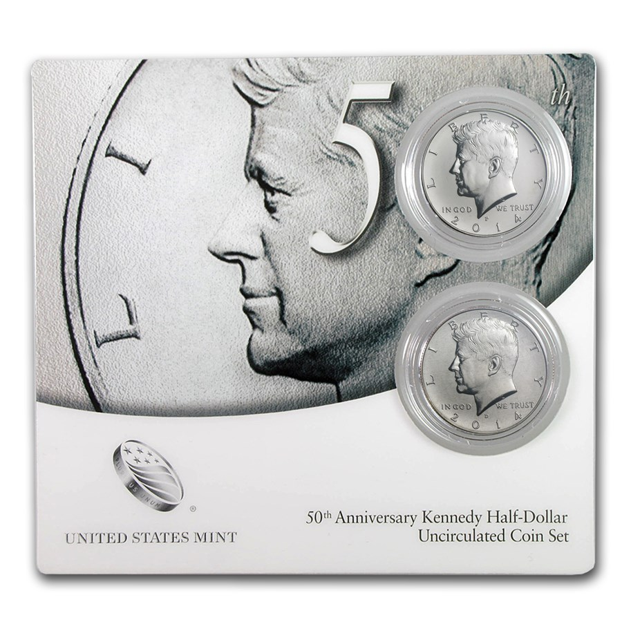 2014 2-Coin 50th Anniv Kennedy 1/2 Dollar Clad Set BU (w/COA)